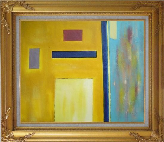 Framed Rectangles in Color Field Oil Painting Nonobjective Modern Gold Wood Frame with Deco Corners 27 x 31 Inches