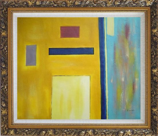 Framed Rectangles in Color Field Oil Painting Nonobjective Modern Ornate Antique Dark Gold Wood Frame 26 x 30 Inches