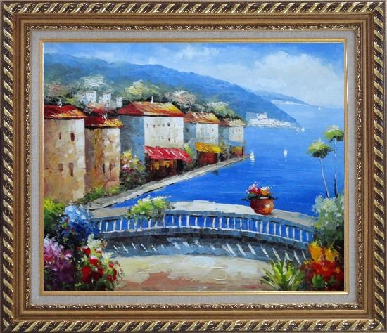 Framed Mediterranean Coastal Village Oil Painting Impressionism Exquisite Gold Wood Frame 26 x 30 Inches