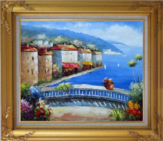Framed Mediterranean Coastal Village Oil Painting Impressionism Gold Wood Frame with Deco Corners 27 x 31 Inches