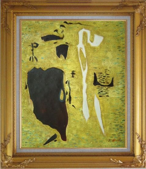 Framed Safer, Romantic Idealism Art Oil Painting Nonobjective Modern Gold Wood Frame with Deco Corners 31 x 27 Inches