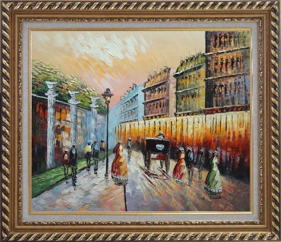 Framed Stroll on Paris Street Scene Oil Painting Cityscape France Impressionism Exquisite Gold Wood Frame 26 x 30 Inches
