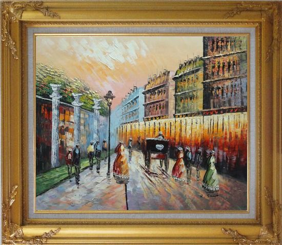 Framed Stroll on Paris Street Scene Oil Painting Cityscape France Impressionism Gold Wood Frame with Deco Corners 27 x 31 Inches