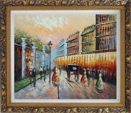 Framed Stroll on Paris Street Scene Oil Painting Cityscape France Impressionism Ornate Antique Dark Gold Wood Frame 26 x 30 Inches