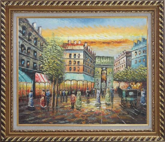 Framed Strolling People Near Paris Arc de Triumph Oil Painting Cityscape France Impressionism Exquisite Gold Wood Frame 26 x 30 Inches
