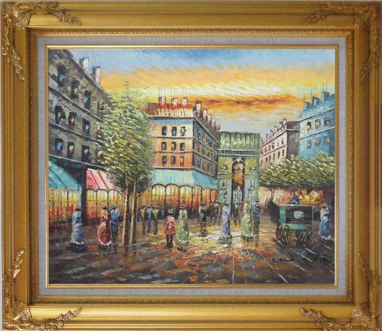 Framed Strolling People Near Paris Arc de Triumph Oil Painting Cityscape France Impressionism Gold Wood Frame with Deco Corners 27 x 31 Inches