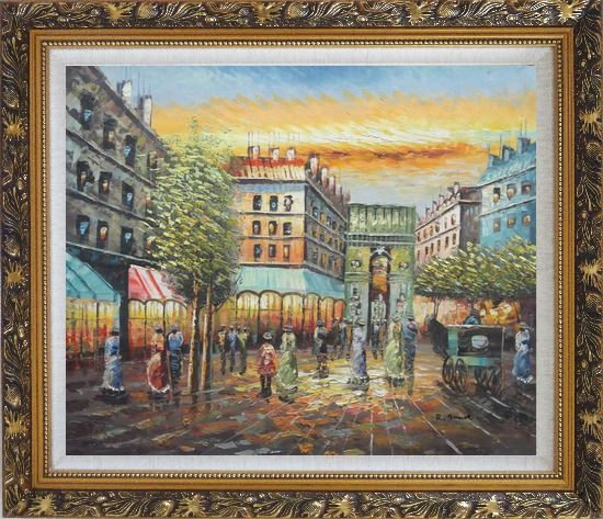 Framed Strolling People Near Paris Arc de Triumph Oil Painting Cityscape France Impressionism Ornate Antique Dark Gold Wood Frame 26 x 30 Inches
