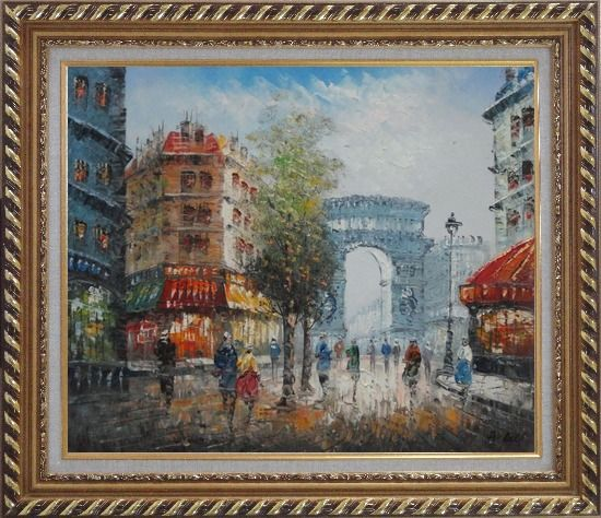 Framed Twilight at Arc de Triomphe with Walking People Oil Painting Cityscape France Impressionism Exquisite Gold Wood Frame 26 x 30 Inches