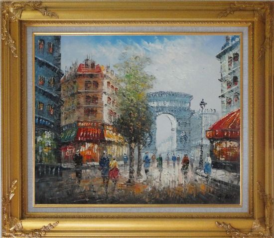 Framed Twilight at Arc de Triomphe with Walking People Oil Painting Cityscape France Impressionism Gold Wood Frame with Deco Corners 27 x 31 Inches