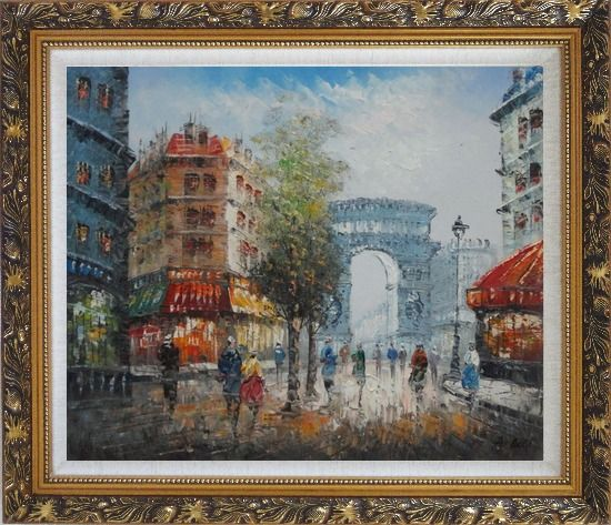 Framed Twilight at Arc de Triomphe with Walking People Oil Painting Cityscape France Impressionism Ornate Antique Dark Gold Wood Frame 26 x 30 Inches