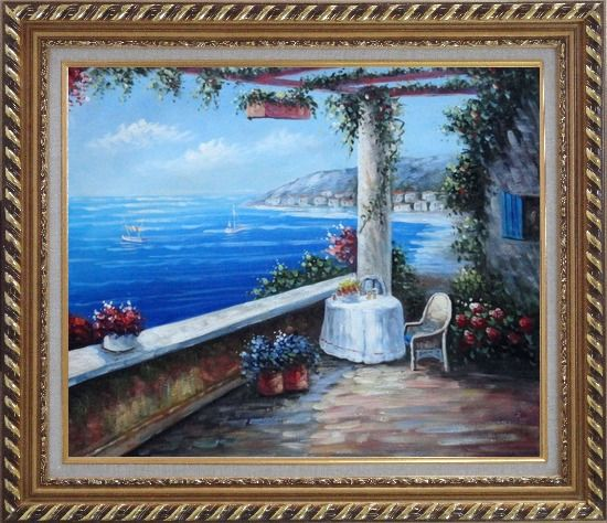 Framed Enchanting Retreat, Lovely Mediterranean Patio Oil Painting Naturalism Exquisite Gold Wood Frame 26 x 30 Inches