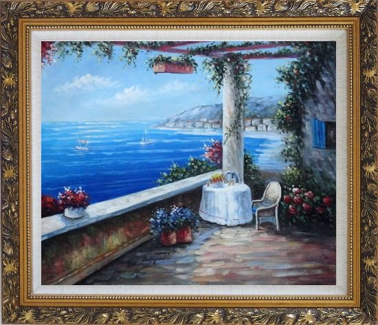 Framed Enchanting Retreat, Lovely Mediterranean Patio Oil Painting Naturalism Ornate Antique Dark Gold Wood Frame 26 x 30 Inches