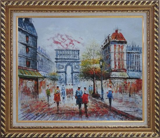 Framed People Stroll Along Boulevard Near Arc de Triomphe Paris City at Dusk Oil Painting Cityscape France Impressionism Exquisite Gold Wood Frame 26 x 30 Inches