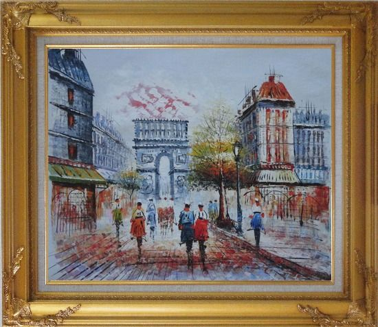 Framed People Stroll Along Boulevard Near Arc de Triomphe Paris City at Dusk Oil Painting Cityscape France Impressionism Gold Wood Frame with Deco Corners 27 x 31 Inches