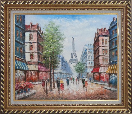 Framed People Walking on Evening Paris Street Oil Painting Cityscape France Impressionism Exquisite Gold Wood Frame 26 x 30 Inches