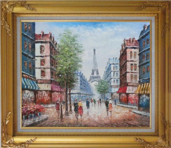 Framed People Walking on Evening Paris Street Oil Painting Cityscape France Impressionism Gold Wood Frame with Deco Corners 27 x 31 Inches