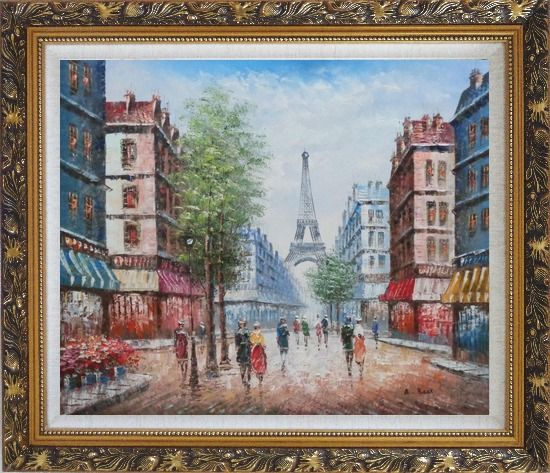 Framed People Walking on Evening Paris Street Oil Painting Cityscape France Impressionism Ornate Antique Dark Gold Wood Frame 26 x 30 Inches
