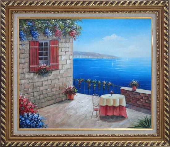 Framed Lush Mediterranean Retreat Near the Sea Oil Painting Naturalism Exquisite Gold Wood Frame 26 x 30 Inches