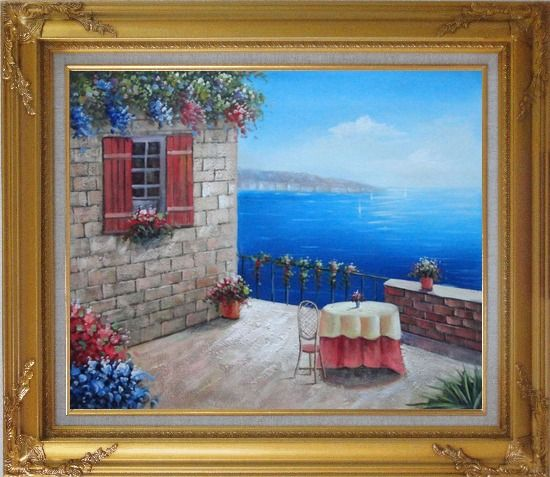 Framed Lush Mediterranean Retreat Near the Sea Oil Painting Naturalism Gold Wood Frame with Deco Corners 27 x 31 Inches