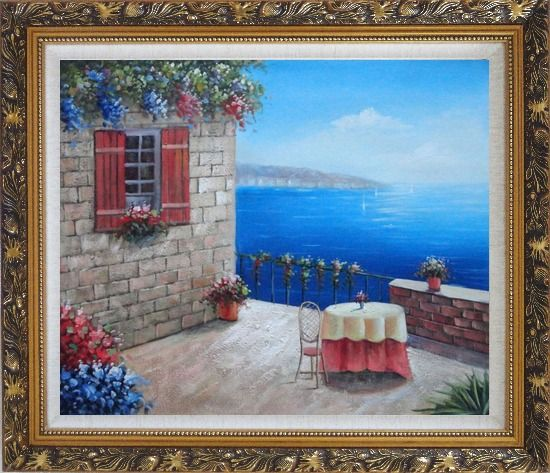 Framed Lush Mediterranean Retreat Near the Sea Oil Painting Naturalism Ornate Antique Dark Gold Wood Frame 26 x 30 Inches