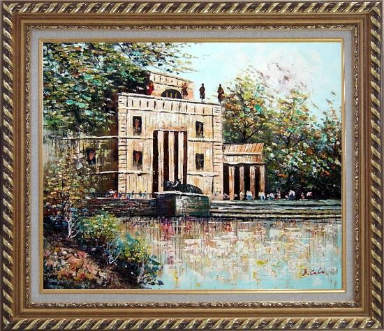 Framed Entrance of Museum Oil Painting Cityscape Impressionism Exquisite Gold Wood Frame 26 x 30 Inches