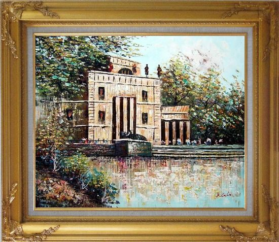 Framed Entrance of Museum Oil Painting Cityscape Impressionism Gold Wood Frame with Deco Corners 27 x 31 Inches