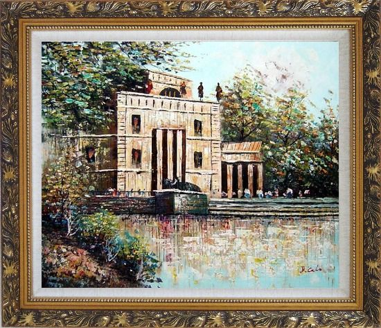 Framed Entrance of Museum Oil Painting Cityscape Impressionism Ornate Antique Dark Gold Wood Frame 26 x 30 Inches
