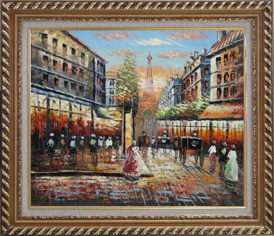 Framed Paris Street Eiffel Tower at Dusk Oil Painting Cityscape France Impressionism Exquisite Gold Wood Frame 26 x 30 Inches