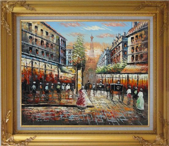 Framed Paris Street Eiffel Tower at Dusk Oil Painting Cityscape France Impressionism Gold Wood Frame with Deco Corners 27 x 31 Inches