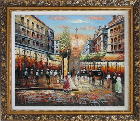 Framed Paris Street Eiffel Tower at Dusk Oil Painting Cityscape France Impressionism Ornate Antique Dark Gold Wood Frame 26 x 30 Inches