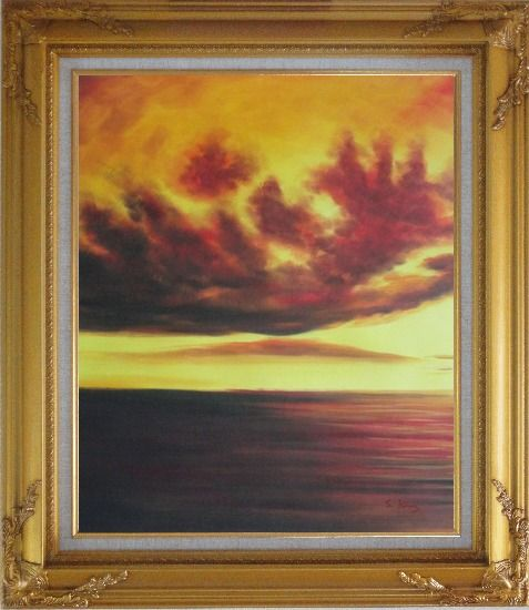 Framed Setting Sun Kindle the Sky Oil Painting Landscape Naturalism Gold Wood Frame with Deco Corners 31 x 27 Inches