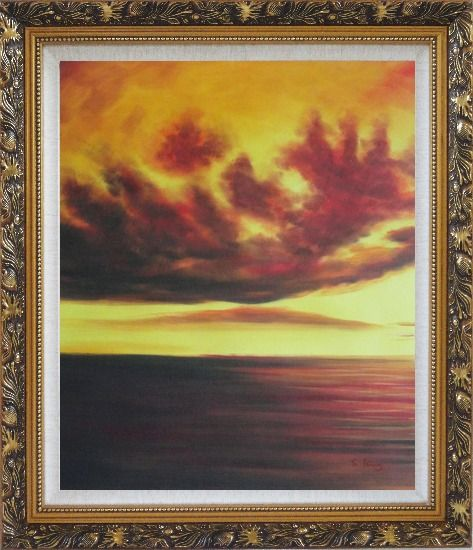 Framed Setting Sun Kindle the Sky Oil Painting Landscape Naturalism Ornate Antique Dark Gold Wood Frame 30 x 26 Inches