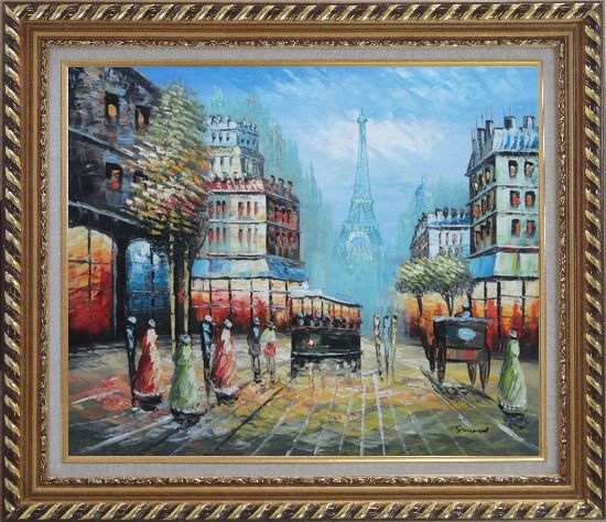 Framed Paris Street and Relaxed Pedestrian Oil Painting Cityscape France Impressionism Exquisite Gold Wood Frame 26 x 30 Inches