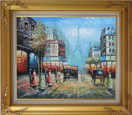 Framed Paris Street and Relaxed Pedestrian Oil Painting Cityscape France Impressionism Gold Wood Frame with Deco Corners 27 x 31 Inches