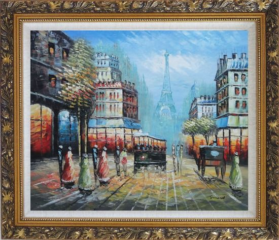 Framed Paris Street and Relaxed Pedestrian Oil Painting Cityscape France Impressionism Ornate Antique Dark Gold Wood Frame 26 x 30 Inches