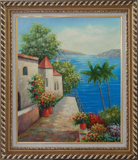 Framed Retreat at Mediterranean Coast Oil Painting Naturalism Exquisite Gold Wood Frame 30 x 26 Inches