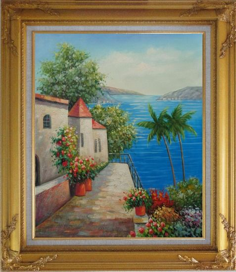 Framed Retreat at Mediterranean Coast Oil Painting Naturalism Gold Wood Frame with Deco Corners 31 x 27 Inches