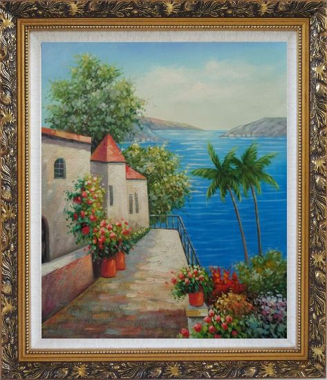 Framed Retreat at Mediterranean Coast Oil Painting Naturalism Ornate Antique Dark Gold Wood Frame 30 x 26 Inches