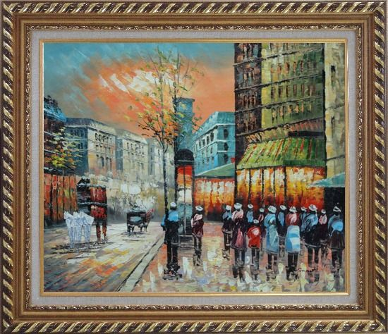 Framed Paris Street Scene 1890 Oil Painting Cityscape France Impressionism Exquisite Gold Wood Frame 26 x 30 Inches