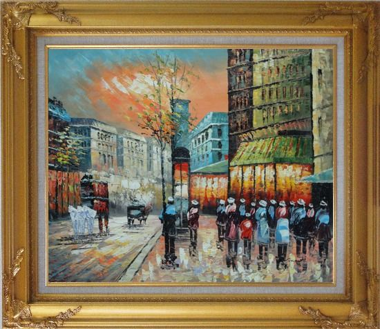 Framed Paris Street Scene 1890 Oil Painting Cityscape France Impressionism Gold Wood Frame with Deco Corners 27 x 31 Inches