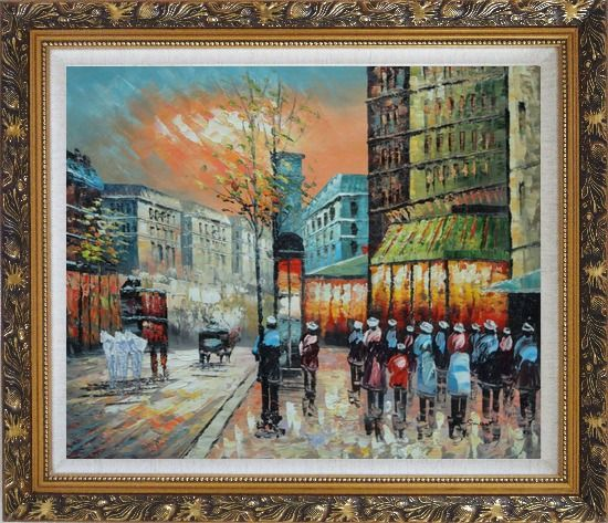 Framed Paris Street Scene 1890 Oil Painting Cityscape France Impressionism Ornate Antique Dark Gold Wood Frame 26 x 30 Inches
