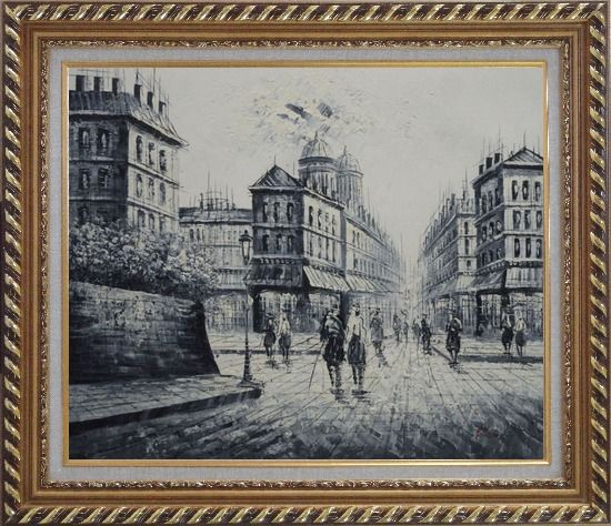 Framed The City of Love Oil Painting Black White Cityscape Impressionism Exquisite Gold Wood Frame 26 x 30 Inches