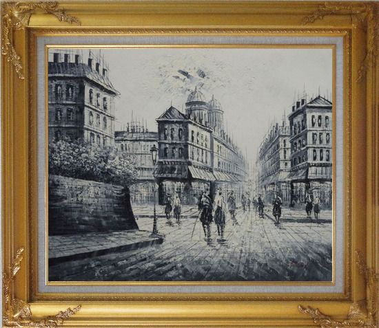 Framed The City of Love Oil Painting Black White Cityscape Impressionism Gold Wood Frame with Deco Corners 27 x 31 Inches