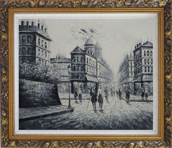 Framed The City of Love Oil Painting Black White Cityscape Impressionism Ornate Antique Dark Gold Wood Frame 26 x 30 Inches