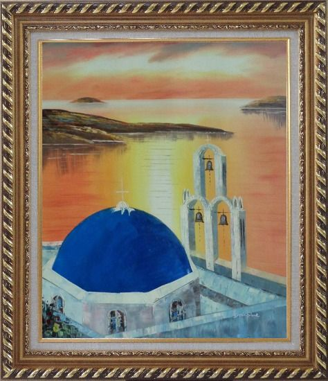 Framed Sunset of Serenity Bay in Santorini Island Oil Painting Mediterranean Religion Naturalism Exquisite Gold Wood Frame 30 x 26 Inches