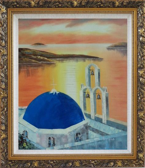 Framed Sunset of Serenity Bay in Santorini Island Oil Painting Mediterranean Religion Naturalism Ornate Antique Dark Gold Wood Frame 30 x 26 Inches