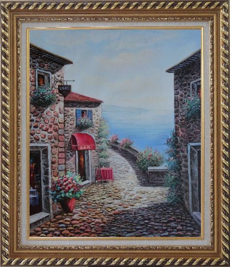 Framed Mediterranean Seashore Village in Serenity Bay Oil Painting Naturalism Exquisite Gold Wood Frame 30 x 26 Inches