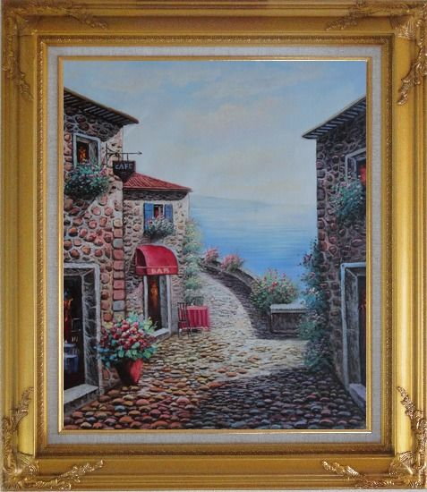 Framed Mediterranean Seashore Village in Serenity Bay Oil Painting Naturalism Gold Wood Frame with Deco Corners 31 x 27 Inches