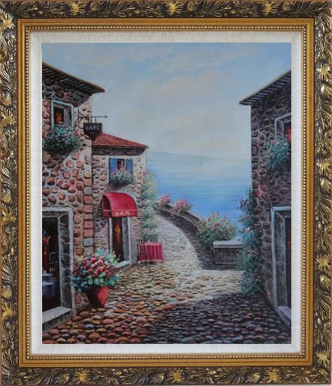 Framed Mediterranean Seashore Village in Serenity Bay Oil Painting Naturalism Ornate Antique Dark Gold Wood Frame 30 x 26 Inches
