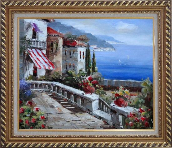 Framed Mediterranean Vistas Oil Painting Naturalism Exquisite Gold Wood Frame 26 x 30 Inches